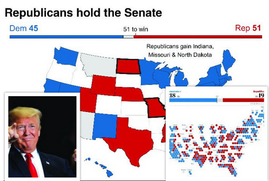US mid-term elections 2018: Trump's G.O.P consolidates hold over the Senate; Democrats capture the House of Representatives