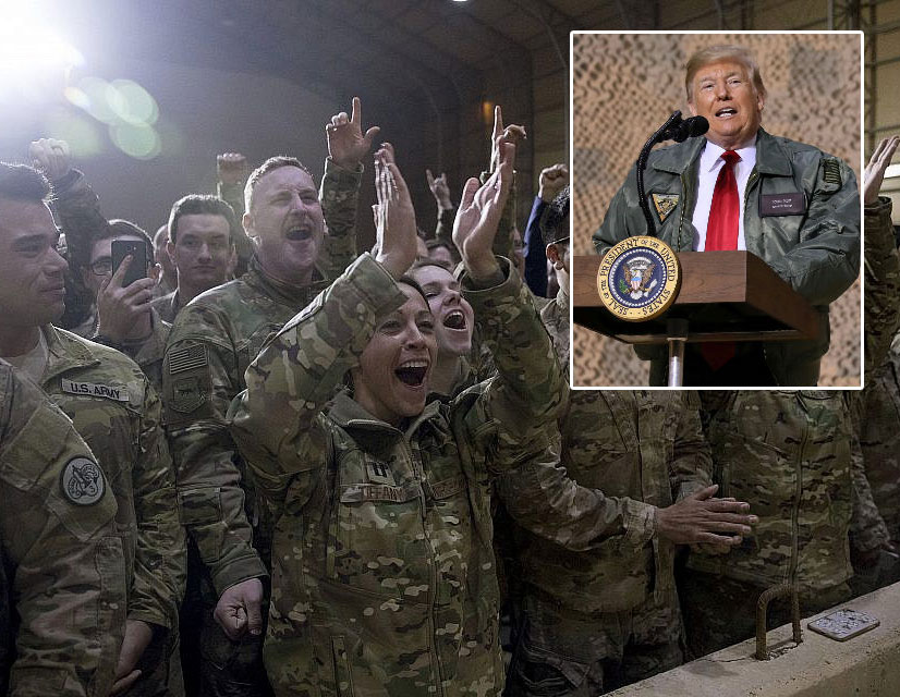 President Trump pays a surprise Christmastime visit to US military base in Iraq amid withdrawal from Syria