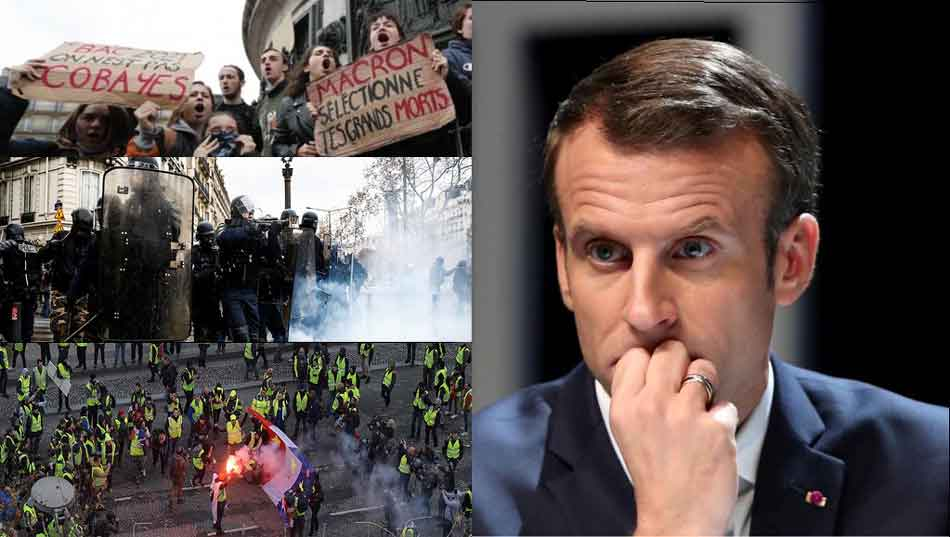 Yellow Vest protests, demand for French President's resignation, Emmanuel Macron, fuel tax, control agitations, France, ww3