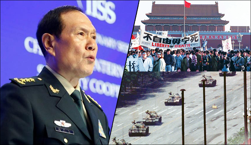SHOCKING: China's Defence Minister justifies Communist regime killing thousands of innocent students at Tiananmen Square
