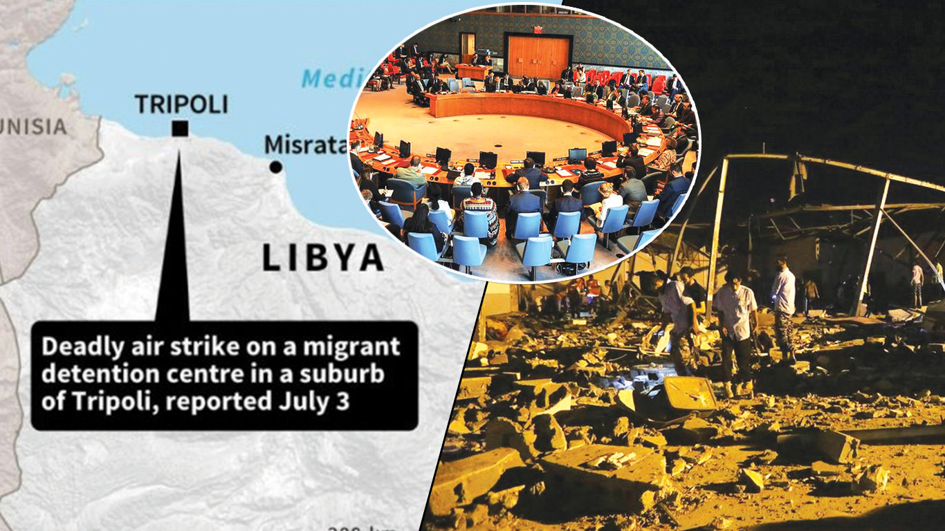 rebel air strike, targeted an immigrant camp, Khalifa Haftar, immigrants, UN, accused the rebel forces, New York, Tripoli, United States