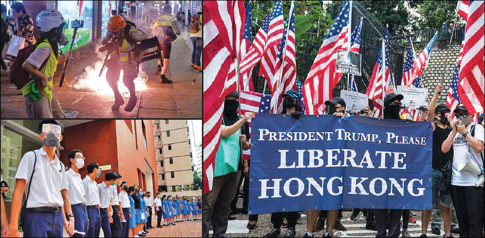 Protesters appeal to US President Trump  for help  to liberate Hong Kong from China
