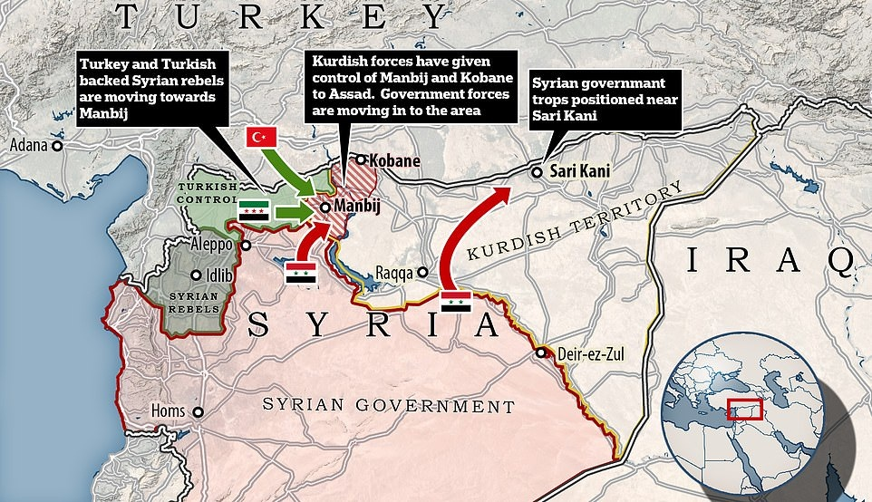 Kurds & Assad agree to counter Turkish aggression. Syrian troops deployed at Turkey border