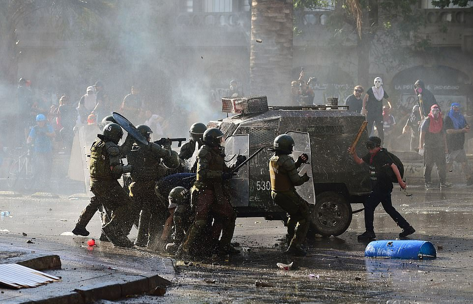 Chile, Anti-government protests, Sebastian Pinera, Economic Inequality, demonstrations, Santiago, UN