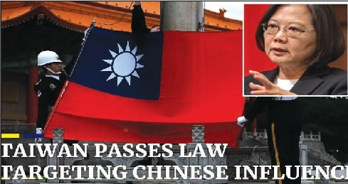 Taiwan passes anti-infiltration bill against China interference; receives severe criticism from pro-China parties