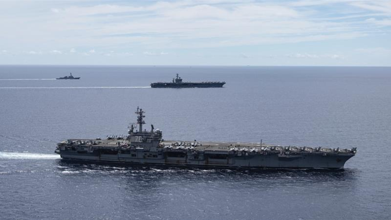 As tensions escalate, US aircraft carrier USS Ronald Reagan conducts exercises in South China Sea